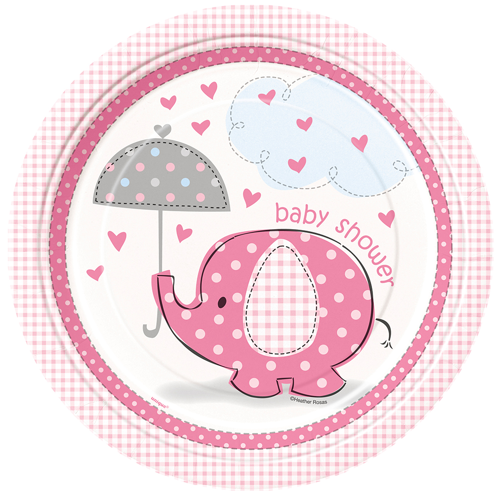 "Umbrellaphants Pink 9"" Lunch Plates (8 Count) - Party Supplies BB41655"