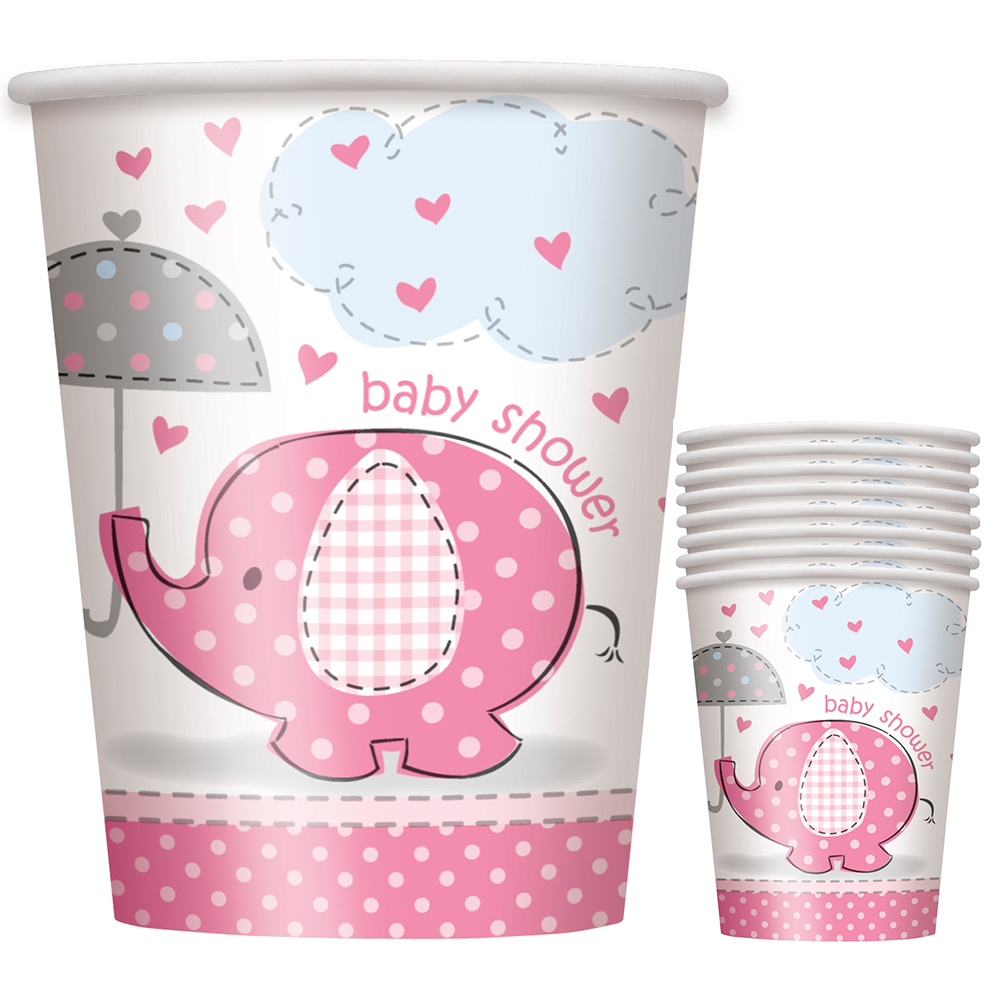 Umbrellaphants Pink 9 oz Cups (8 Count) - Party Supplies BB41656
