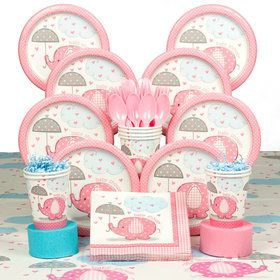 Umbrellaphants Pink Baby Shower Deluxe Tableware Kit (Serves 8)