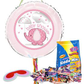 Umbrellaphants Pink Baby Shower Pull String Economy Pinata Kit