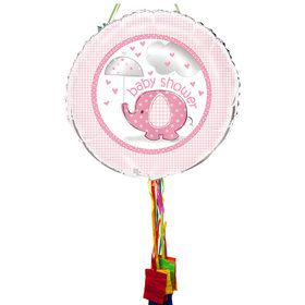 Umbrellaphants Pink Baby Shower Pull String Pinata
