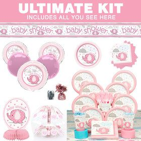 Umbrellaphants Pink Baby Shower Ultimate Tableware Kit (Serves 8)