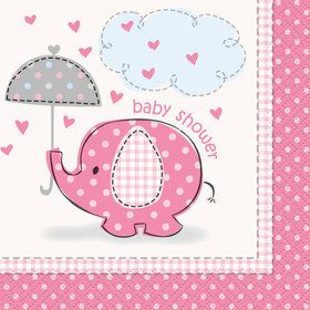 Umbrellaphants Pink Beverage Napkins (16 Count)