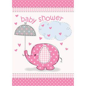 Umbrellaphants Pink Birthday Party Invitations (8 Count)
