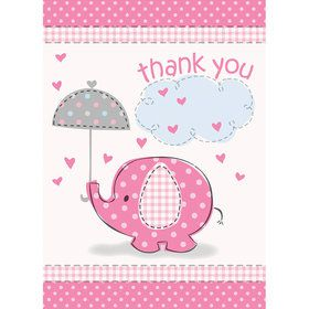 Umbrellaphants Pink Thank You Cards (8 Count)
