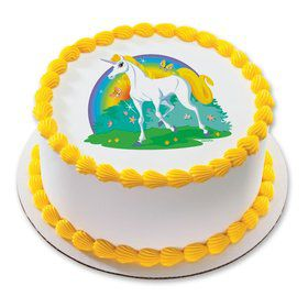 "Unicorn 7.5"" Round Edible Cake Topper (Each)"