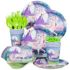 Unicorn Fantasy Birthday Party Standard Tableware Kit Serves 8