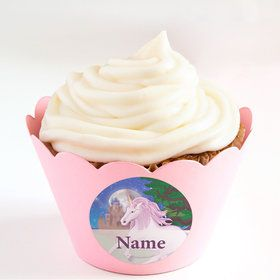 Unicorn Fantasy Personalized Cupcake Wrappers (Set of 24)