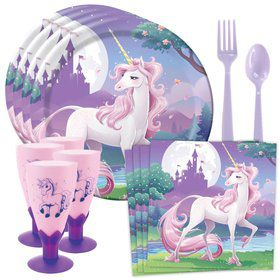 Unicorn Fantasy Standard Tableware Kit With Plastic Unicorn Goblets (Serves 8)