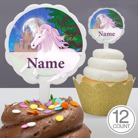 Unicorn Fun Personalized Cupcake Picks (12 Count)