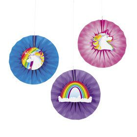 Unicorn Hanging Paper Fans With Icons (12)