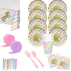 Unicorn Sparkle 1st Birthday Deluxe Tableware Kit (Serves 8)