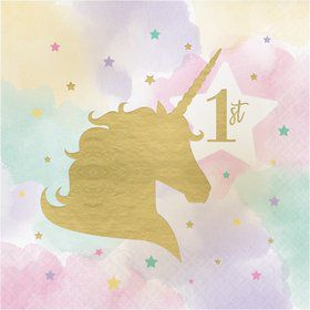 Unicorn Sparkle 1st Birthday Lunch Napkin (16)