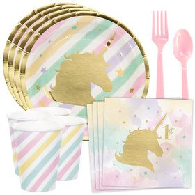 Unicorn Sparkle 1st Birthday Standard Tableware Kit (Serves 8)