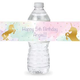 Unicorn Sparkle Personalized Bottle Label (Sheet of 4)