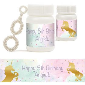 Unicorn Sparkle Personalized Bubbles (18 Pack)