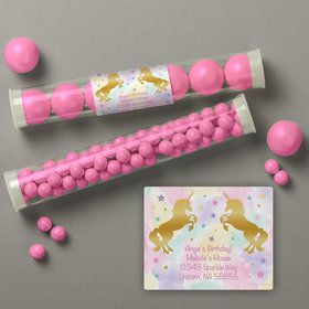 Unicorn Sparkle Personalized Candy Tubes (12 Count)