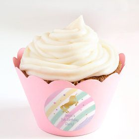 Unicorn Sparkle Personalized Cupcake Wrappers (Set of 24)