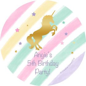 Unicorn Sparkle Personalized Mini Stickers (Sheet of 24)