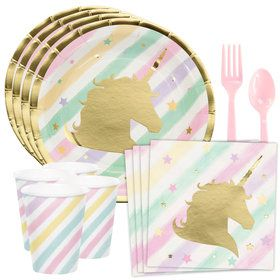 Unicorn Sparkle Standard Tableware Kit (Serves 8)