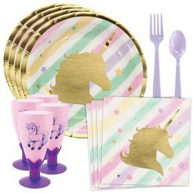 Unicorn Sparkle Standard Tableware Kit With Plastic Unicorn Goblets (Serves 8)