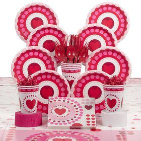 Valentine Hearts Birthday Tableware Kit Serves 8