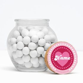 "Valentine Hearts Personalized 3"" Glass Sphere Jars (Set of 12)"