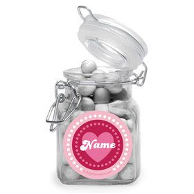 Valentine Hearts Personalized Glass Apothecary Jars (12 Count)