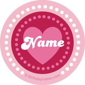 Valentine Hearts Personalized Mini Stickers (Sheet of 24)
