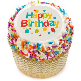 "Very Happy Birthday 2"" Edible Cupcake Topper (12 Images)"