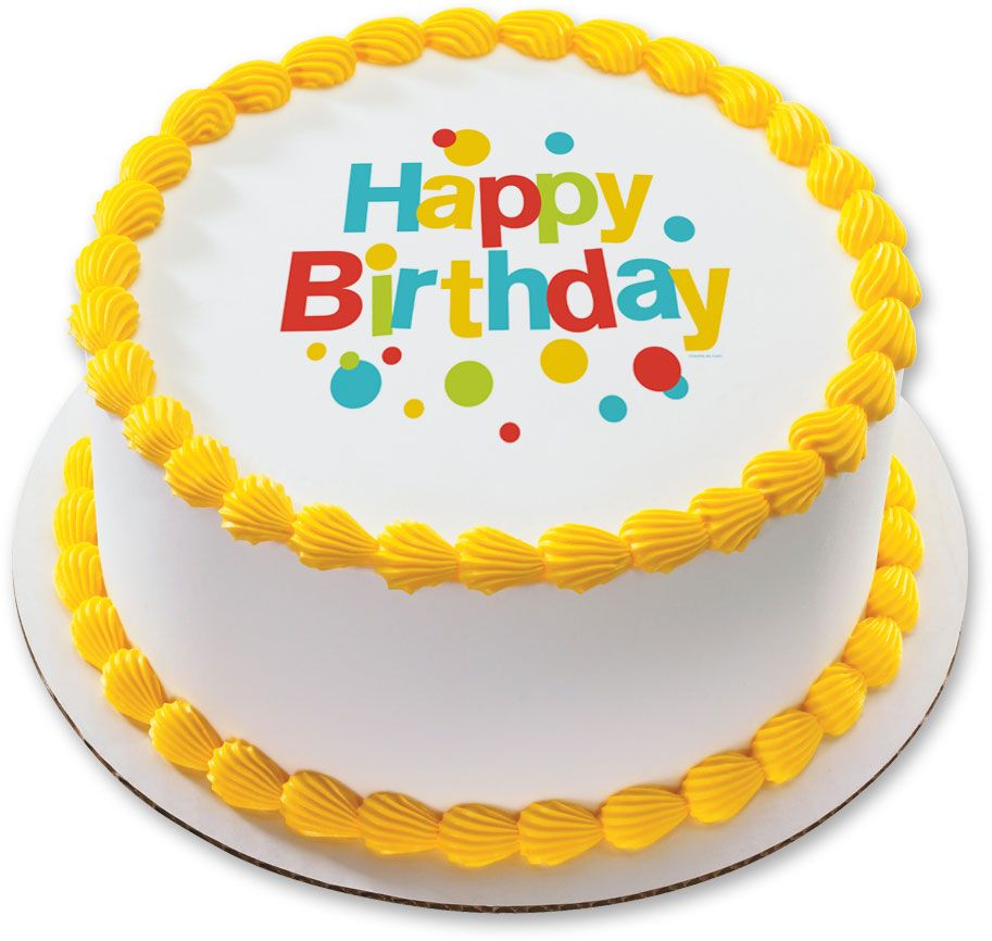 "Very Happy Birthday 7.5"" Round Edible Cake Topper (Each) BB622RND"