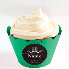 Vintage Dude 30 Personalized Cupcake Wrappers (Set of 24)