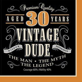 Vintage Dude 30th Luncheon Napkins (16 Pack)
