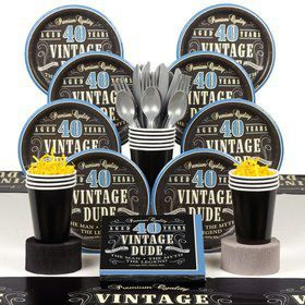Vintage Dude 40th Birthday Party Deluxe Tableware Kit Serves 8