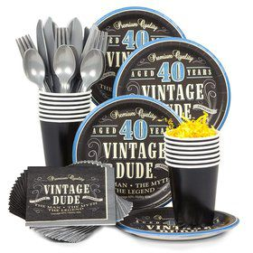 Vintage Dude 40th Birthday Party Standard Tableware Kit Serves 8