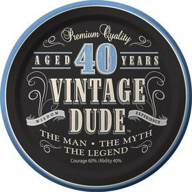 "Vintage Dude 40th Cake Plate 7"" (8 Pack)"