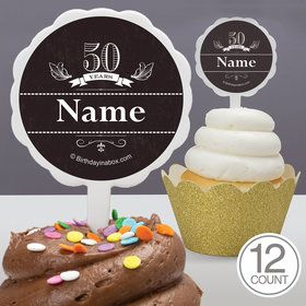 Vintage Dude 50 Personalized Cupcake Picks (12 Count)