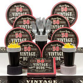 Vintage Dude 50th Birthday Party Deluxe Tableware Kit Serves 8