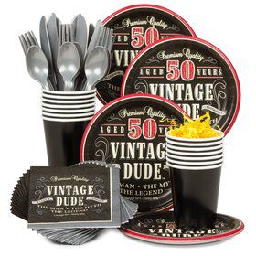 Vintage Dude 50th Birthday Party Standard Tableware Kit Serves 8