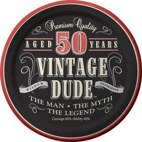 "Vintage Dude 50th Cake Plates 7"" (8 Pack)"