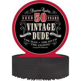 Vintage Dude 50th Honeycomb Centerpiece (Each)