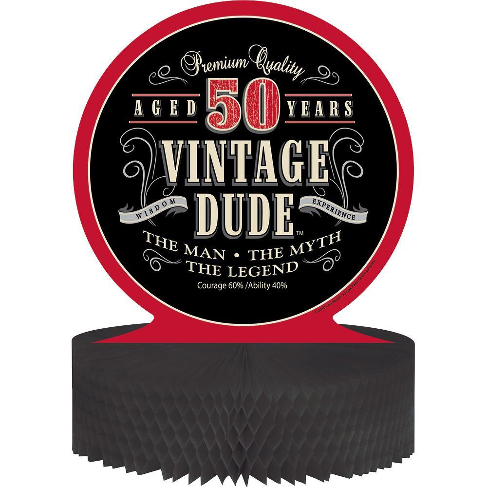 Vintage Dude 50th Honeycomb Centerpiece - Centerpieces and Party ...