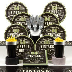 Vintage Dude 60th Birthday Party Deluxe Tableware Kit Serves 8