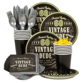 Vintage Dude 60th Birthday Party Standard Tableware Kit Serves 8