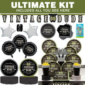 Vintage Dude 60th Birthday Party Ultimate Tableware Kit Serves 8