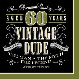 Vintage Dude 60th Luncheon Napkins (16 Pack)