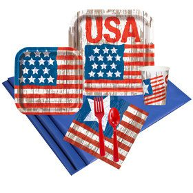 Vintage Patriotic Flag 16 Guest Party Pack