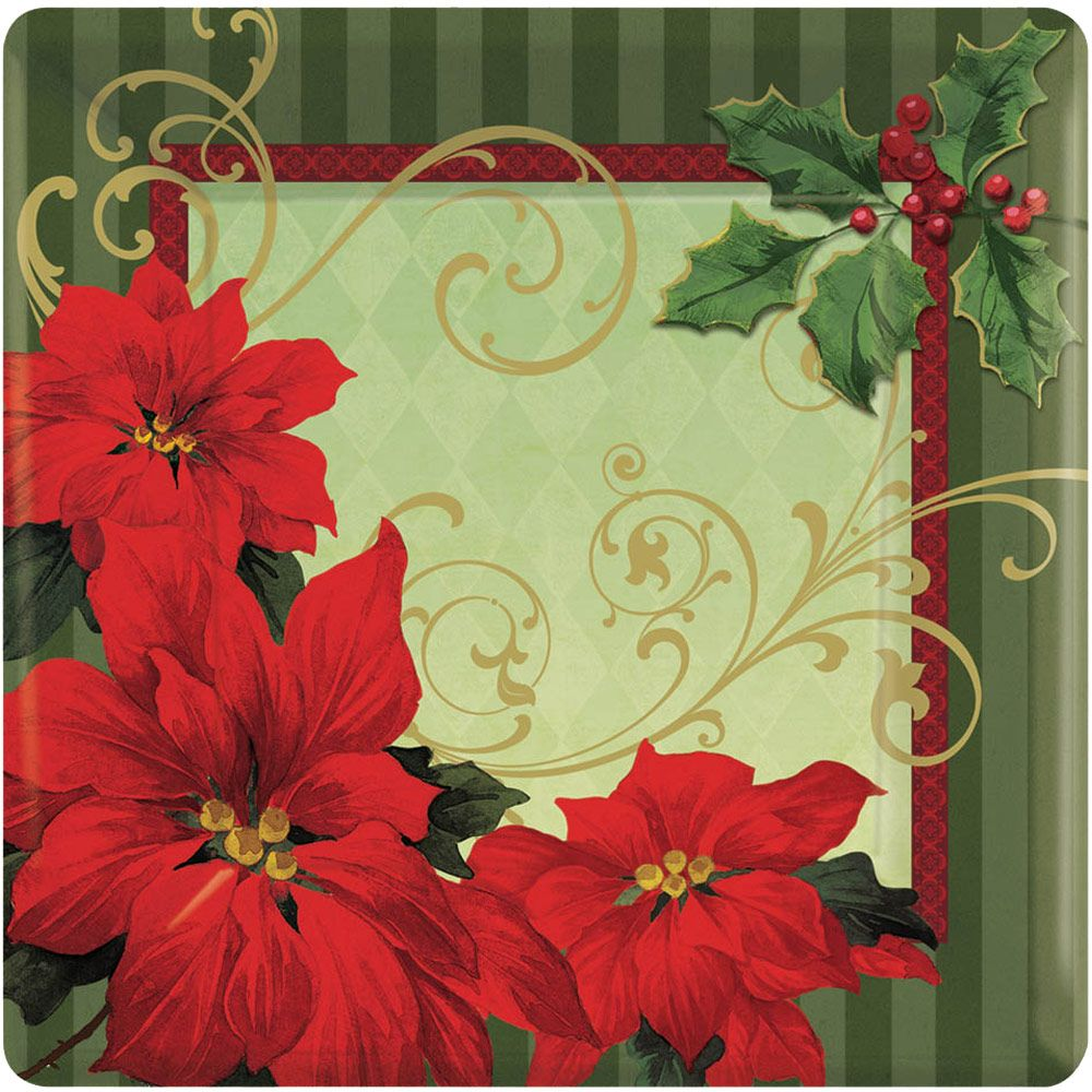"""Vintage Poinsettia 7"""" Plate (18 Pack) Birthday Party Supplies Plates BB749543"""