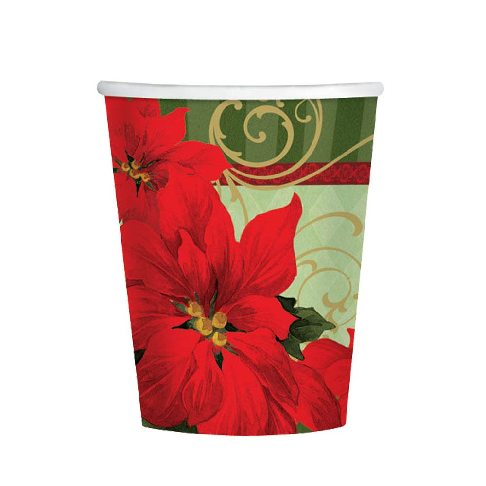 Vintage Poinsettia (18 Pack) Birthday Party Supplies Cups BB739543