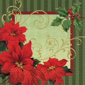 Vintage Poinsettia Beverage Napkins (36 Pack)